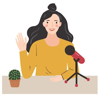 Woman recording a podcast, voice over. young lady talking with microphone. hand drawn  trendy illustration.