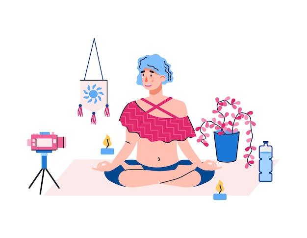 블로그 카메라, 흰색 배경에 고립 된 평면 만화 요가 연습의 비디오를 녹화하는 여자. 요가 채널 용 콘텐츠를 만드는 blogger.