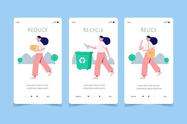 Woman recycling mobile app screens
