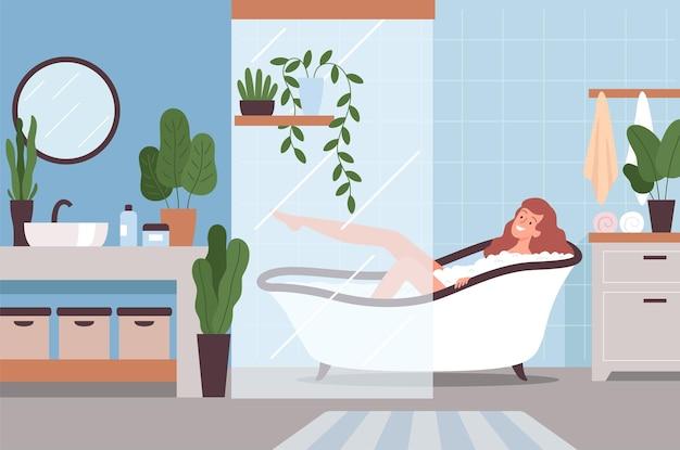 여자는 욕실에서 휴식을 취합니다. 위생적인 생활 방식은 예쁜 여자 목욕 샤워실 벡터 만화 배경을 씻습니다. 그림 욕실, 젊은 여성은 거품에서 휴식