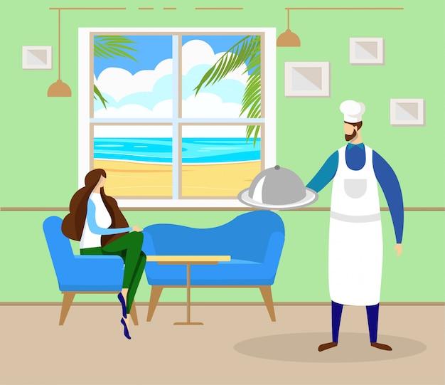 Женщина отдохнуть в кафе на берегу моря с прекрасным видом