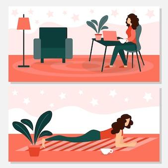 Женщина расслабляющий и делать спортивные упражнения в домашних условиях