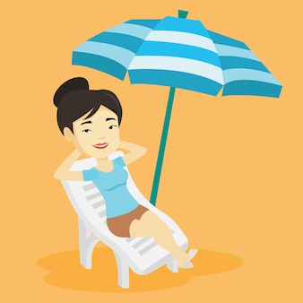 Woman relaxing on beach chair illustration.