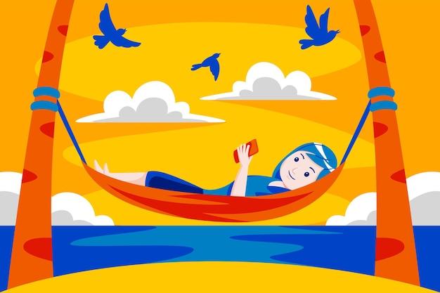 熱帯のビーチのハンモックでリラックスした女性。
