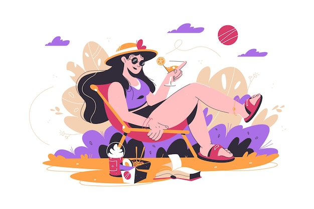 Woman relaxing in park with drink vector illustration female on chair sunbath on nature flat style