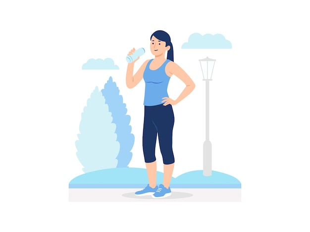 Woman resting and drinking water during jogging concept illustration