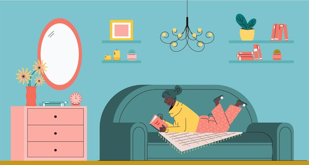 Woman resting on sofa and reading book in living room sketch vector illustration