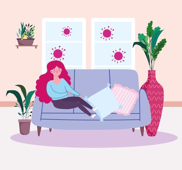 ソファを休む女性