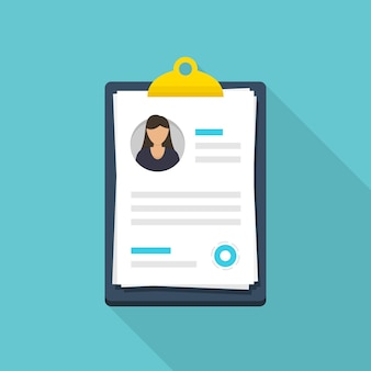 Woman resume document in clipboard in a flat design with long shadow