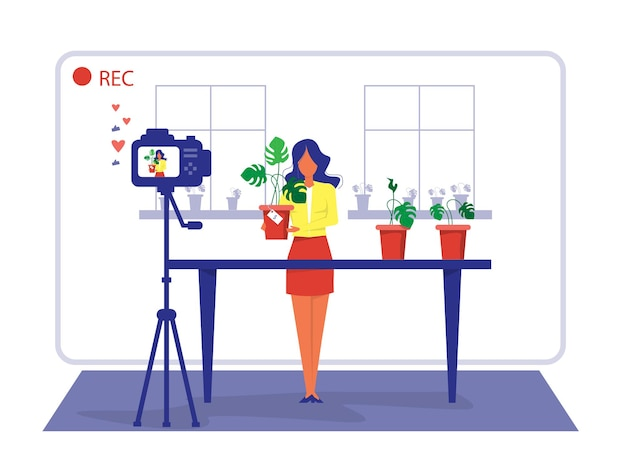 Woman review or selling home plant through live streaming shop online and  ecommerce concept