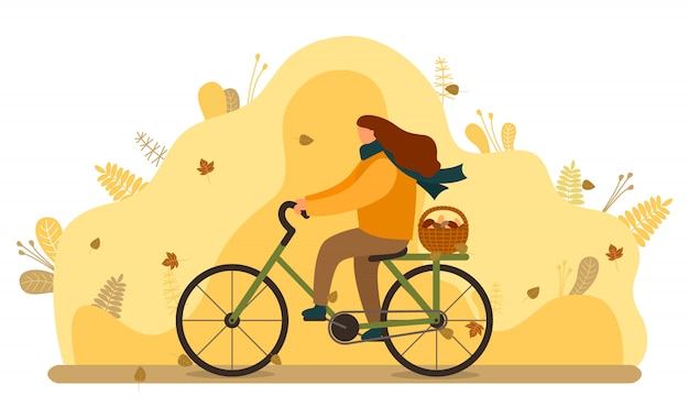 Woman ride bike with basket of mushrooms, autumn