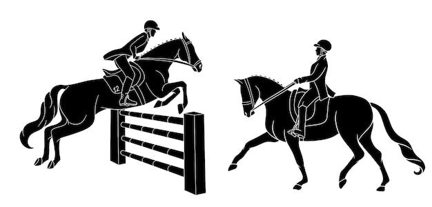 Женщина верхом на лошади и другие прыжки через препятствие черные рисунки иллюстрации