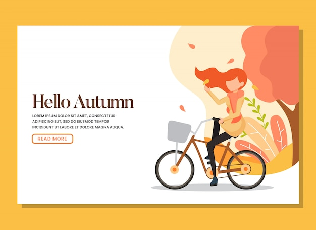 A woman riding bicycle in the warm autumn day landing page