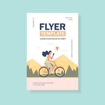 Woman riding bike by mountains flyer template