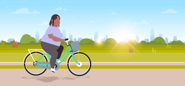 Woman riding bike in city urban park  girl cycling bicycle  concept  female cartoon character landscape