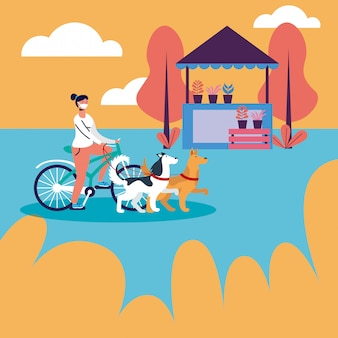 Woman riding bike with medical mask and dogs at park  design
