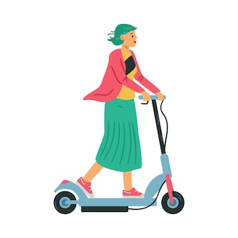 Woman riding electric scooter flat vector illustration isolated on white