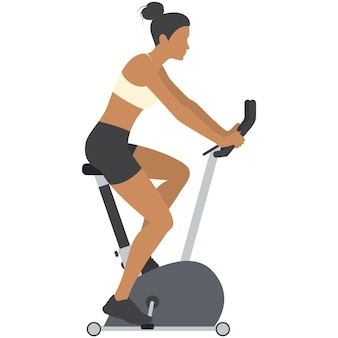Woman riding exercise bike vector icon isolated on white Premium Vector