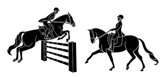 Woman riding a horse and other jumping over an obstacle black drawings illustrations