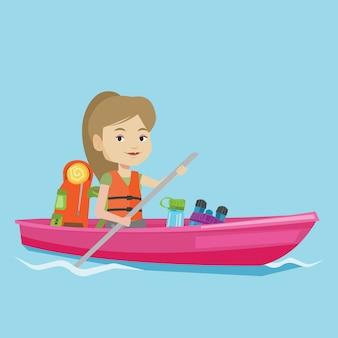 Woman riding in kayak illustration.