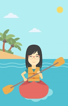 Woman riding in kayak vector illustration.