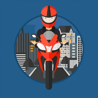 Woman riding motorcycle.