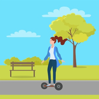 Woman riding segway in green city park with trees