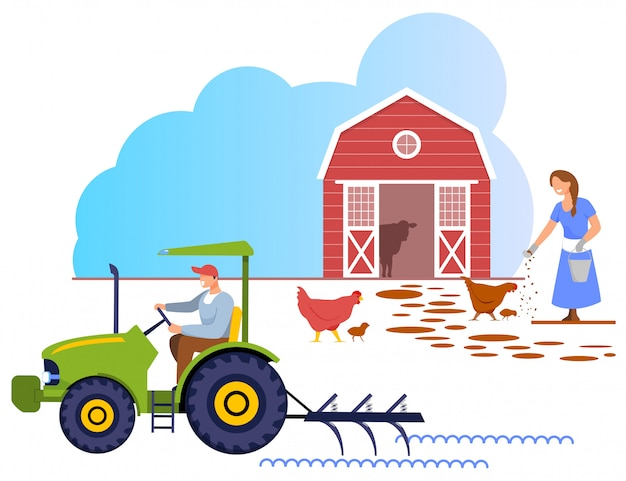 Woman in robe feed chicken. man riding tractor