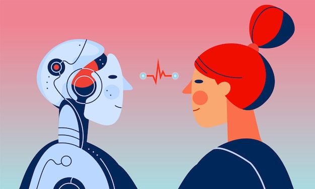 A woman and robot with artificial intelligence looking at each other