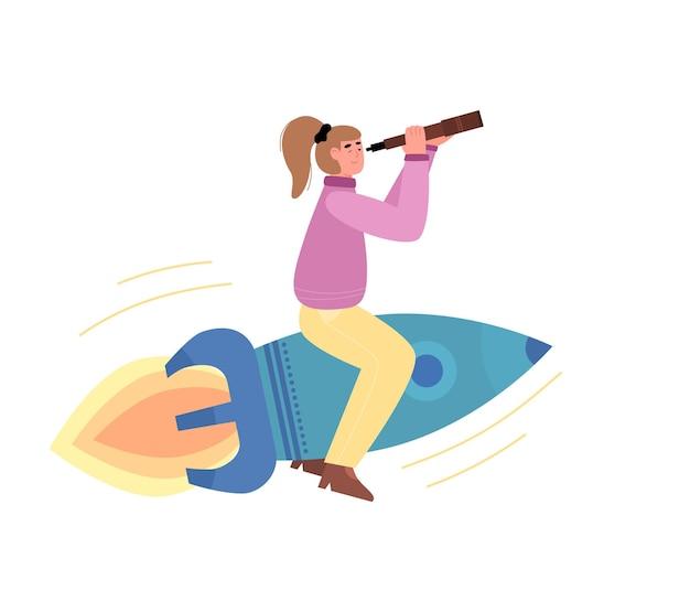 Woman on rocket watching through spyglass cartoon vector illustration isolated