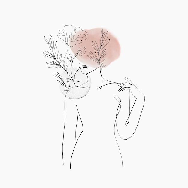 Illustrazione femminile pastello rosa floreale di vettore di arte della linea del corpo della donna
