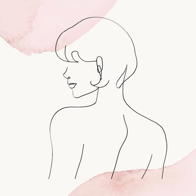 Illustrazione di arte di linea vettoriale della parte superiore del corpo della donna su sfondo acquerello pastello rosa