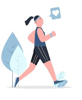 Женщина бежит за здоровым