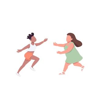 Женщина бежит обнимать плоских цветных безликих персонажей. самка хочет обнять друга. лесбийская счастливая пара. дружба изолированные иллюстрации шаржа для веб-графического дизайна и анимации
