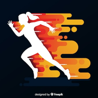 Woman runner in flames background