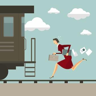 電車の後走っている女性。