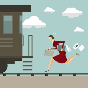 Woman running after the train.