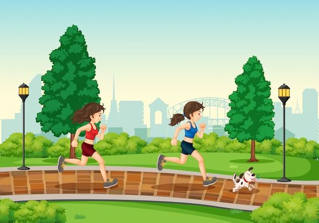公園で走っている女性