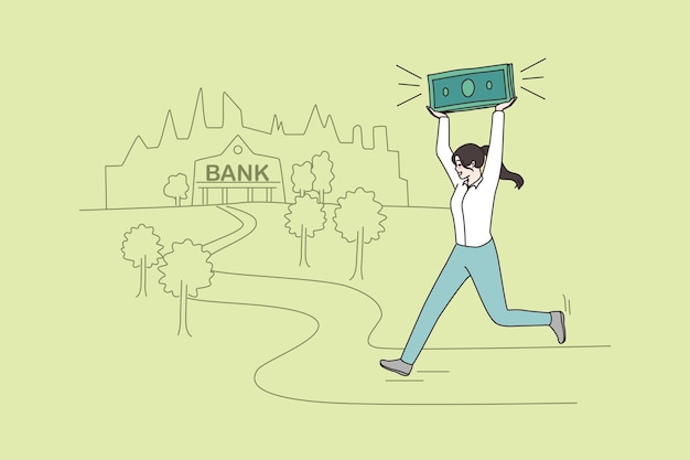Woman running to bank with money in hand