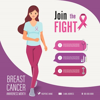 Woman running in breast cancer awareness campaign infographic template