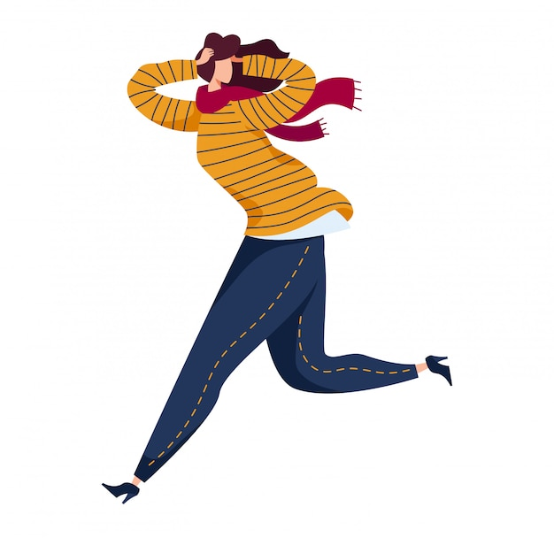 Woman running from danger, physical harassment bullying, female character fleeing threat life