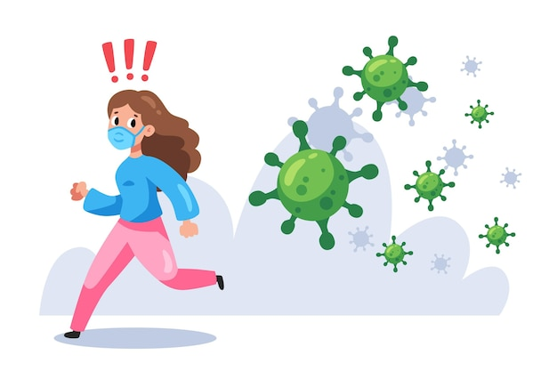 Woman running from particles of coronavirus
