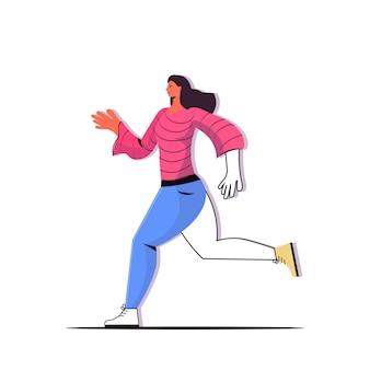 Женщина работает девушка делает физические упражнения концепция здорового образа жизни женский мультипликационный персонаж в полный рост