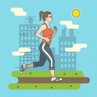 Woman running illustration Free Vector