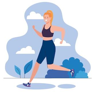 屋外スポーツレクリエーション運動を走っている女性