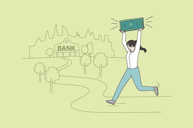 Женщина бежит в банк с деньгами в руке