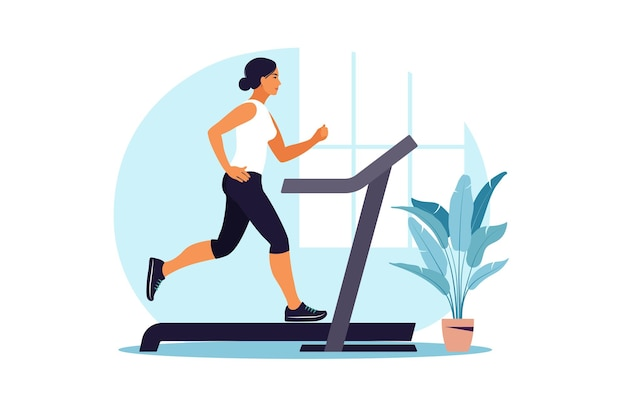 Woman running on a treadmill at home. healthy lifestyle concept. sport training. fitness.