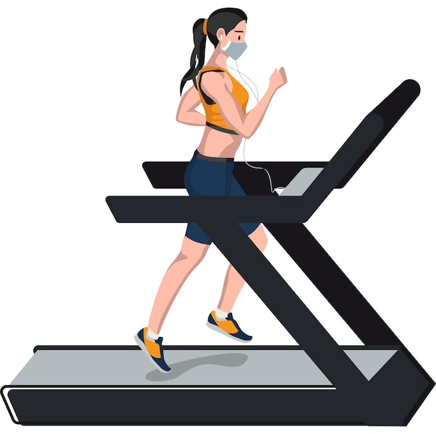 Woman running on a treadmill illustration