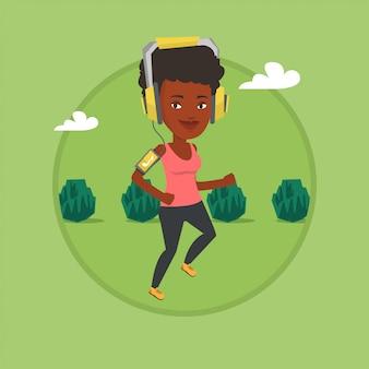 イヤホンとスマートフォンで走っている女性。