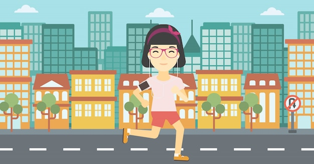 Woman running with earphones and smartphone.